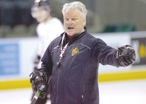 London Knights head coach Dale Hunter, running a practice with the Ontario Hockey League team.