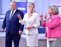 Liberal Premier Kathleen Wynne, centre, Progressive Conservative Leader Doug Ford, and NDP Leader Andrea Horwath at the Ontario Leaders debate in Toronto on May 7, 2018. FRANK GUNN/THE CANADIAN PRESS