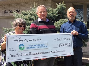 Wayne and Sylvia Barnard are with Paul Mayrand (right) of the Chatham Kent Community Foundation. The Barnards have donated almost $24,000 to the Foundation to help fund educational, cultural or therapeutic services for youth. Handout/Postmedia Network