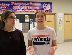 Julia Rey Rodriguez (left), a Grade 11 student and Samantha Casemore, a Grade 12 student, both at Peninsula Shores District School, have invited local candidates running in the upcoming provincial election to an all-candidates debate at their school in Wiarton on May 11. Photo by Zoe Kessler/Wiarton Echo