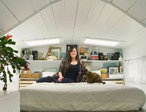 Carole Lyne Robin designed and built her tiny home, where she's lived in Iroquois Falls since November. She downsized from a 3,300 square foot house to her house on wheels, which is only 236 square feet.