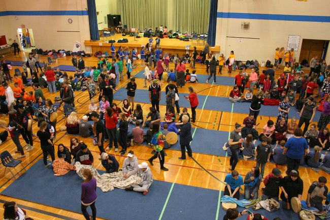 The Peace River School Division Hand Games filled EE Oliver gymnasium with people and with noise and high spirits for the Indigenous cultural experience
