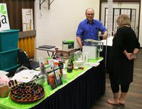 Darrell Walmsley was one of several vendors at the Health and Wellness Fair held in the banquet room at Dunvegan Inn and Suites May 5. He was in the midst of a demonstration of a water purification system. He also offers supplement drinks and capsules, teas, essential oils, fitness supplements and other items. Vendors offered a wide range of items including dietary supplements, essential oils, and even sexy lingerie.