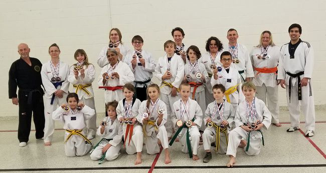 Members of the Dutton Taekwondo Club participated in a tournament in London in late April and its members collectively earned 44 trophies. Members are Angela Wood, Xavier Berube, Doug Newton, Karen Hayes, Mikyle Newton, Jocelyn Pellerin, Benjamin Zea, Carson Szabo, Lilia Mazzocato, Aden Vincze, Mikey Vincze, Selaena Hayward, Noah Pearson, Greg Simpson, Sarah Simpson, Spencer Simpson, Tia Van Breda, Dale Self, Karen Bowery and Jayden Turner. Handout/The Chronicle