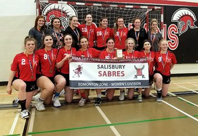 The Salisbury Sabres senior girls handball team moved up a level, but still saw success, winning medals every step along the way. Photo Supplied