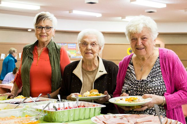 Stonewall United Church's Mother's Day Brunch fundraiser brought lots of folks out to celebrate Mom's in the community, May 5. Pictured L-R: Elsie Murray mother of two stands with her mother in law,  Marion Murray, and Mary Stewart, mother of three.