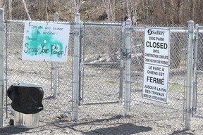 The city is looking at moving a dog park at Riverdale Playground on York Street to undeveloped land at York and Paris. (Gino Donato/Sudbury Star file photo)