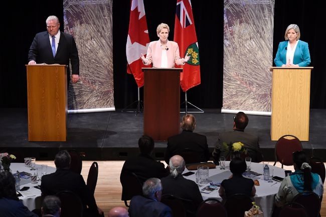 Ontario Progressive Conservative Leader Doug Ford, left to right, Ontario Liberal Leader Kathleen Wynne and Ontario NDP Leader Andrea Horwath take part in the second of three leaders' debate in Parry Sound, Ont., on Friday, May 11, 2018. THE CANADIAN PRESS/Nathan Denette
