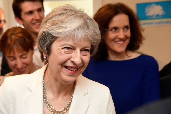 Britain's Prime Minister Theresa May speaks during a visit to Finchley Conservatives in Barnet, north London after the Conservative party retained control of the council in local elections on May 4, 2018. TOBY MELVILLE/AFP/Getty Images