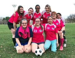 Submitted photo: Some embers of the International Flavours (back from left) Sabrina Arruda, Christine McGregor, Ofelia Smith, Amy Cybulski, and (front from left) Katrina Thompson, Kaitlyn Kargus, Yuliana Miranda, Mary Josey and Ana Castiblanco gathered recently for practice in the hopes they will be able to field a team for the upcoming Upper Ottawa Valley Adult Soccer Club season.