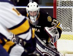 Goalie Ethan Langevin, a 2017 draft pick, will attend the Sarnia Sting's orientation camp at Progressive Auto Sales Arena in Sarnia, Ont., on Saturday, May 12, and Sunday, May 13, 2018. (Mark Malone/Postmedia Network)