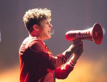 The Arkells' Max Kerman uses a megaphone during a performance at the Juno Awards in Vancouve on March 25. (THE CANADIAN PRESS)
