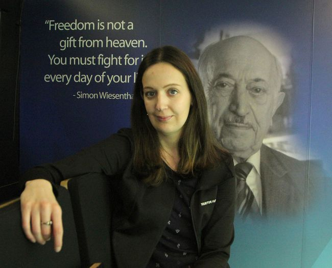 """Daniella Lurion, an educator with the Friends of Simon Wiesenthal Centre for Holocaust Studies, was in Timmins Thursday and Friday where she offered an """"age appropriate"""" workshop about the persecution of Jewish Europeans under Nazi Germany during the Second World War at a couple of elementary schools."""