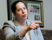 NDP MP Christine Moore takes part in an interview in her office in Ottawa on Friday, May 11, 2018. THE CANADIAN PRESS/SEAN KILPATRICK