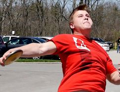 Valley Heights' PK Klassen won the senior boys discus event at the annual VHSS Track and Field Day on May 8, qualifying for the NSSAA meet on May 16. (Chris Abbott/Tillsonburg News)