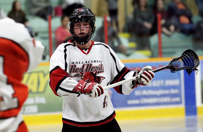 Wallaceburg Red Devils' Kyle Dawson plays against the Point Edward Pacers in the Ontario Jr. 'B' Lacrosse League at Wallaceburg Memorial Arena on Thursday, April 26, 2018. (MARK MALONE/Chatham Daily News/Postmedia Network)