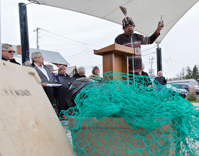 Joe Green of Six Nations offers a traditional blessing on the weekend during the Fishermen's Memorial Service and Blessing of the Nets in Port Dover. (Brian Thompson/The Expositor)