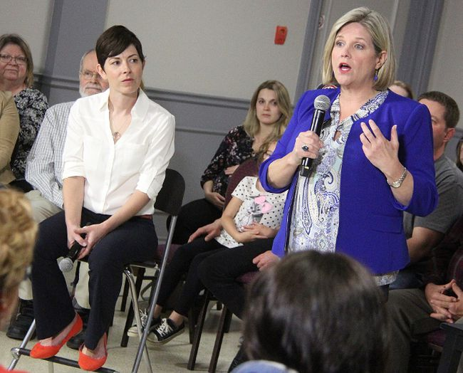 NDP Leader Andrea Horwath talks health care at a town-hall event Monday at the Dante Club in Sarnia, as Sarnia-Lambton NDP candidate Kathy Alexander looks on. About 100 people participated in the event. Tyler Kula/Sarnia Observer/Postmedia Network