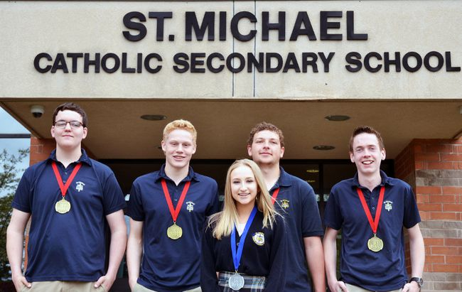 Five St. Michael Catholic Secondary School students came home from last week's Skills Ontario Competition in Toronto with gold and silver medals. Pictured from left are Clay Terpstra, Trevor DeGroot, Leah Pellizzari, Nicholas Hergott, and Simon White. (Galen Simmons/The Beacon Herald)