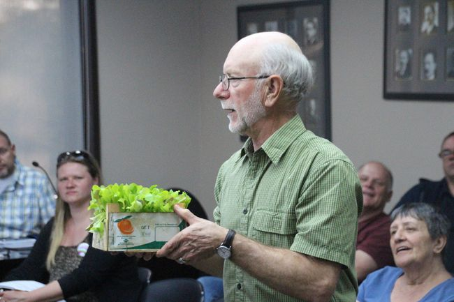 <p>Bill Carrier from Cornwall Transition+ presented city council with lettuce and tomato plants as a thank you for its support of the group's initiatives on Monday May 14, 2018 in Cornwall, Ont. </p><P>