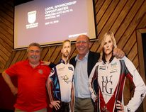 Fred Rose, left, the driving force behind bringing the Pinty's Grand Slam of Curling event to Chatham in September is with Canadian curling legend Kevin Martin, and cutouts of Canadian curling stars Brad Gushue and Jennifer Jones. Gushue and Jones will be participating. Ellwood Shreve/Postmedia Network