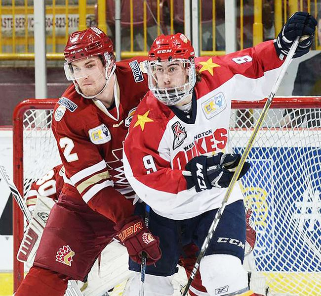 Wellington Dukes vs. the host Chilliwack Chiefs at the 2018 RBC Cup national Jr. A hockey championship Tuesday night at the Prospera Centre in Chilliwack, BC. (Matthew Murnaghan/Hockey Canada Images)