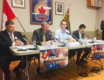 Candidates from four political parties faced off at an all-candidates' event that focused on health care issues, at the Wallaceburg branch of the Royal Canadian Legion on May 12. They included, from left to right, Todd Case (NDP), Brian Everaert (Trillium), Monte McNaughton (Progressive Conservative) and Anthony Li (Green). Moderator was Jeff Wesley. David Gough/Courier Press