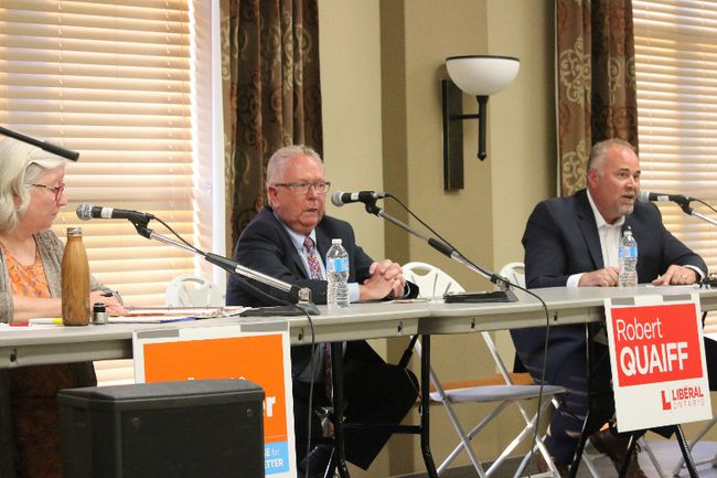 BRUCE BELL/THE INTELLIGENCER Tuesday night marked the beginning of debate season for the upcoming provincial election. Candidates (from left) Joanne Belanger (NDP), Robert Quaiff (Liberal) and incumbent Todd Smith (Conservative) were on hand for the first all-candidates meeting, hosted by CUPE at the Wellington Community Centre.