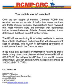 RCMP break-in vehicle notice Canmore