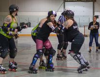 The Rocky View Rollers took on the Whitecourt Hot Rollersat the Spring Fling-Her Triple Header on Sat., April 28 winning with a final score of 309 to 105.