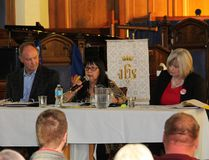 At the May 15 All Candidates Debate, NDP candidate Ethel LaValley answers a question from the audience as incumbent Progressive Conservative MPP John Yakabuski and Liberal candidate Jackie Agnew listen intently.