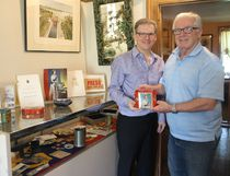 <p>Cornwall Community Museum's Don Smith, left, and Fred Addis hold the biscuit tin which was the first item in the collection of souvenirs from the Queen's 1959 visit to open the seaway that Addis is donating to the museum; on Wednesday May 16, 2018 in Cornwall, Ont. </p><p> Alan S. Hale/Cornwall Standard-Freeholder/Postmedia Network