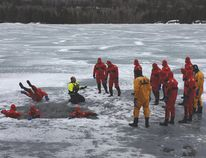Photo supplied Tim Wheeler, teaching an ice-rescue session on behalf of Raven Rescue at the OSARVA annual general meeting held this year at the Anishinabe Spiritual Centre on Anderson Lake from April 27-29.