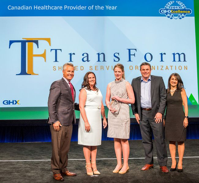 TransForm Shared Service Organization, based in Chatham, Ont., was named the Canadian Healthcare Provider of the Year, for the third consecutive year, during the 2018 GHX Healthcare Supply Chain Summit awards event held recently. Pictured from left are: Bruce Johnson, CEO, GHX, Renee McIntyre, director, supply chain, TransForm, Katelyn Dryden, manager, supply chain operations, TransForm, Derek Robertson, chief business development and supply chain officer, Transform, and Tina Murphy, CRO, GHX. (Handout)