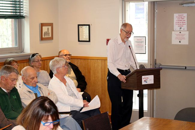 Southward Villa tenant Ron Brown presents his deputation to city council on Tuesday, May 15 protesting a proposed change to the municipal water and sewer rates and billing system for seniors residences and apartment blocks.