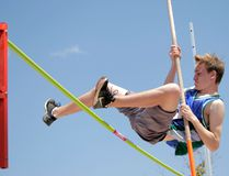 Wyatt Brooks/For The Whig-Standard Braydan Dunham of the Granite Ridge Gryphons set a new record in the midget boys pole vault at the Kingston Area Secondary Schools Athletic Association track and field championships at the CaraCo Home Field complex on Thursday, clearing the bar on his third attempt at 2.60 metres.