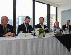 Kingston and the Islands provincial election candidates, from left, Gary Bennett (Progressive Conservative), Ian Arthur (NDP), Andre Imbeault (Trillium), Sophie Kiwala (Liberal) and Robert Kiley (Green) are seen before an all-candidates luncheon hosted by the Greater Kingston Chamber of Commerce at the Delta Hotel on Thursday. )Julia McKay/The Whig-Standard)