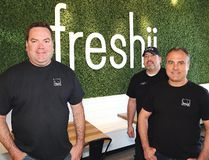 Freshii franchise partners Steve Beaudry, left, Tom Laronde and John Shelegey held their grand opening in Val Caron, Ont. on Thursday May 17, 2018. John Lappa/Sudbury Star/Postmedia Network