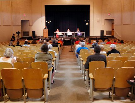 Luke Hendry/The Intelligencer About 50 people attended a debate for provincial election candidates of the Bay of Quinte riding Thursday at Trenton High School in Trenton. Candidates from the Progressive Conservative, New Democratic and Liberal parties participated.