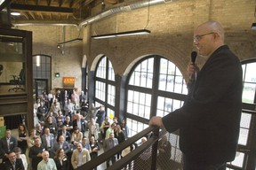David Billson, CEO of rTraction, addresses a crowd at the launch of RH Accelerator last week. (Derek Ruttan/Postmedia News)