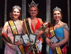 The Miss Teen Ontario East Pageant was held at the Renfrew Recreation Centre on Sunday, April 22. The first runner-up was Anna Juhasz (left), the new 2018 Miss Teen Ontario East was Emma Jeapes (centre) and the second runne- up was Megan Phanenhour.
