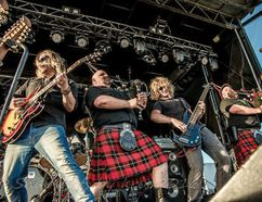 The famed Mudmen include: Mike Meacher - lead singer, guitars, banjo; Dan Westenenk - bass player; Jeremy Burton - drummer; Robby Campbell - bagpipes; and Sandy Campbell - bagpipes. (Contributed Photo)