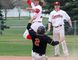 Camrose Axemen second baseman and team manager Zach Wilms reaches high to bring down a throw to second base against the Rosalind Athletics in Powerline Baseball League exhibition action in Camrose on May 9. Josh Aldrich/Camrose CanadianNetwork