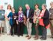 The ribbon cutting ceremony outside of the Prairie Pregnancy Support Centre in Portage la Prairie. Pictured (l-r) Pat Hennan, Kathy Letkeman, Dawn Bell, Mary Loewen, Mayor Irvine Ferris, Darseen Pryor, Lisa Enns and Tim Neufeld. (Supplied photo)