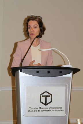 Christiane Bergevin, the chair of the board of directors of the Canadian Chamber of Commerce, says regulatory hurdles are hurting Canada's reputation among global industry leaders. Bergevin was the keynote speaker at a Timmins Chamber of Commerce luncheon on Thursday.