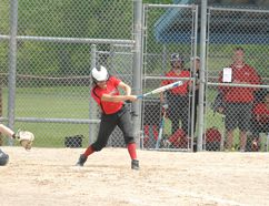 Brantford Bobcats bantam under-16 player Kaitlyn Bomberry takes a swing on Sunday afternoon in a game against Toronto during the inaugural Queen of Diamonds Victoria Day Classic at Lions Park in the Steve Brown Sports Comlex. Michelle Ruby/The Expositor