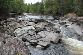 About 30 people took a guided hike to the Camus Rapids on the Groundhog River on Saturday.