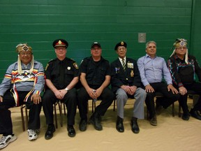 Photo by Patricia Drohan/For The Mid-North Monitor Special guests to the EHS powwow on May 17, included, Glen Hare, Deputy Grand Council Chief (Union of Ontario Indians); Todd Zimmerman, acting chief of police (Espanola Police Service);, Cst. Murray Still (CSO)- UCCMM Anishinaabe Police Service; Rene Espaniel, Sagamok Anishnawbek head veteran; Chief Shining Turtle, Franklin Paibomsai (Whitefish River First Nation); and Patrick Madahbee, Grand Council Chief (Union of Ontario Indians).