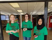Grade 12 students (left to right) Hannah Dixon, Lauren Girod and Noverah Feroz helped in organizing a week focusing on the dangers of distracted driving at Salisbury Composite High School. Photo Supplied