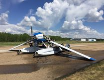 A pilot was forced to make an emergency landing at the South Cooking Lake Airport on Monday afternoon as a result of a cabin fire, the cause of which has yet to be determined. Photo courtesy Jim Johannsson